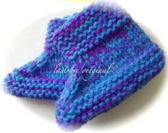 Slipper Boots, Hand Knit, Children's Small, Blue Purple Multicolor
