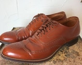 RESERVED for Peter Fall sale 1940s shoes 1940s brogues size 7 1/2 mens 9 womens cognac leather vintage oxfords 1950s wingtips