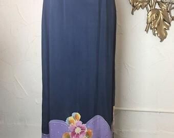 Fall sale Vintage skirt maxi skirt purple skirt rayon skirt hand dyed skirt hippie skirt 28 waist bohemian skirt