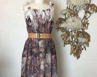 Fall sale 1970s dress cotton dress vintage sundress floral dress summer dress 70s dress bohemian dress size medium