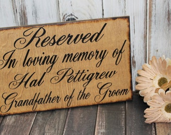Wedding Sign In Loving Memory of Personalized Remembrance loved ones passed Reserved Rustic country Memorial table pictures Mother Father