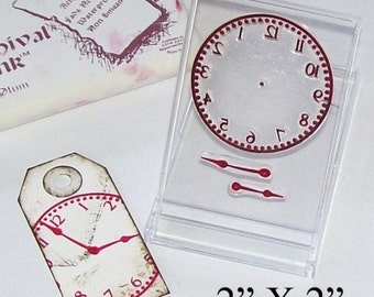 Season of Love Clock Face and Hands Rubberstamp 029