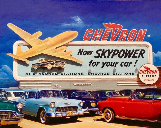 Featured listing image: SKYPOWER 1956 ORIGINAL Painting VANCAS Midcentury Auto Aviation Los Angeles Airport Airplane Gas Station Chevron Buick Chevy Thunderbird DC6