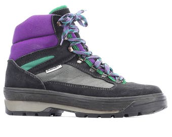Retro High Top Sneakers 80s Hi Top Platform Black Purple Trekking Boots Vibram Sole Suede Street Style Gym Swiss Eur 42 Us men 8.5  Uk 8