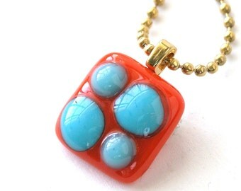 Pop Art Fused Glass Pendant - Colorful Bright Tangerine with Turquoise Pendant on Gold Chain - Reactive Glass - Op Art