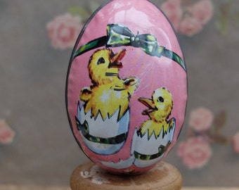 Vintage Tin Candy Egg Duck Chick Metal Container Hong Kong