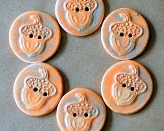 6 Rustic Handmade Ceramic Acorn Buttons - Autumn Orange Stoneware  - perfect for button bracelets