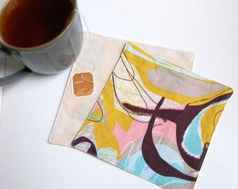 Brushstroke Cloth Cocktail Napkins / pastel modern cloth napkins / cocktail bar napkins / happy hour drink napkins / watercolor table linens