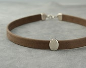 Leather collar, Beige, Nude, Coffee, Leather choker, Choker necklace, bdsm collar, submissive day collar, Chocker, Girlfriend gift idea