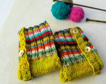 Yellow Handknit Gloves with Multicolors