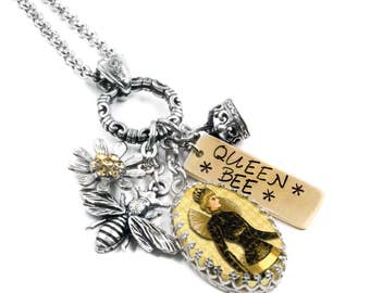 Bee Necklace, Bee Jewelry, Bumble Bee Charms, Queen Bee, Bumble Bee Jewelry