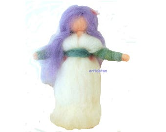 Wool art doll,needle felted, 7.5 inch Waldorf fairy standing doll home and garden decoration