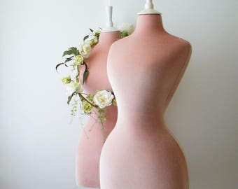 Wasp Waisted Mannequin Velvet Pink Dress Form Sewing Corset Display Bust