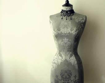 Interior Design Mannequin Damask Corset Laced Home Decor Dressform Bust - Celia in Grey
