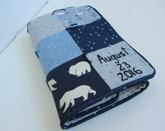 Personalized Baby Quilt With Name and Date Hand Embroidered ~ Woodland Baby Boy ~ Bear Arrows Birch Trees Stars Fox ~ Navy Gray Blue White
