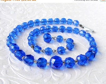 20% SALE Blue Crystal Rhinestone Necklace Faceted Glass Beaded Choker 1950s Vintage Costume Jewelry Royal Cobalt Wedding Prom Formal Pageant