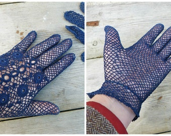 Reserverd to MARI   Vintage Antique 1890 French Victorian navy blue cotton crochet handmade  gloves size 6.5 or 7