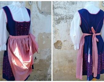 Vintage 1970/70s Tyrol Austria October fest dirndl dress embroidered + white cotton mini blouse & pink apron  /size M