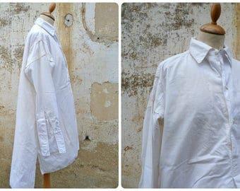 Vintage Antique 1910 /1930 Edwardian French white cotton men shirt