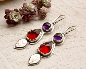Garnet Earrings, Amethyst Earrings, Silver Earrings, Handmade Metalwork, Modern Dangles, Handcrafted Silver