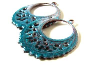 Blue Enamel Brass Filigree Earring Charms