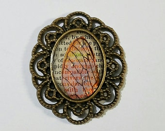 Real Cicada Wing Victorian Style Brooch--Iridescent