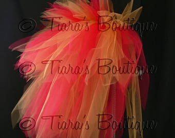"Fire Goddess, Women's Custom Sewn 3 Tiered Pixie Tutu Bustle, Red and Gold, up to 24"" long"