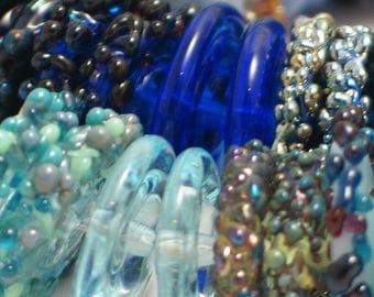 """Handmade Glass Lampwork disc disk Beads """"Shades of Blue"""" filler focal glass art"""