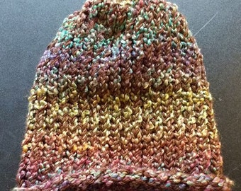 SPRING CLEARANCE SALE!! ooak Hand Knitted Winter Hat Soft Earth Colors Brown Turqoise Rose