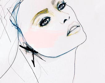 Lémoi - Fashion Illustration Art Print, Portrait, Mixed Media Painting by Leigh Viner