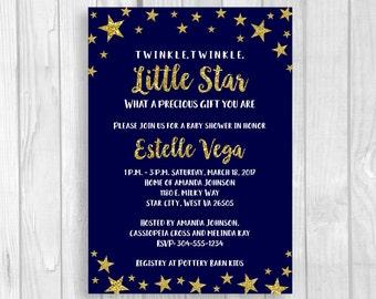 Twinkle Twinkle Little Star 5x7 Printable Baby Shower Invitations - Midnight Blue Gold Glitter - Girl, Boy or Gender Neutral - Baby Sprinkle