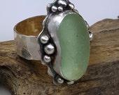 Sea Glass Jewelry Sea Glass Ring Aqua Sea Glass Ring Beach Glass Ring Size 7.5 - R-132