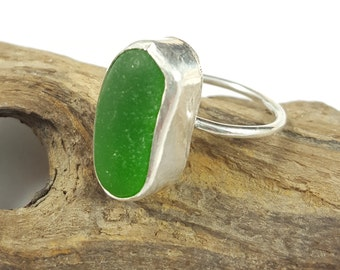 Sea Glass Jewelry Sea Glass Ring Stacker Ring Kelly Green Sea Glass Ring Beach Glass Jewelry  Gift for Her Christmas Gift Size 9.25 - R-134