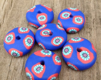 Cute Set of Flower Handmade Polymer Clay Beads in Blue with Salmon and Turquoise