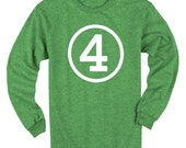 Fourth Birthday Long Sleeve Heather Green Kids T-Shirt