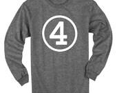 Fourth Birthday Long Sleeve Heather Black Kids T-Shirt