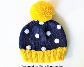 Preppy Yellow and Navy Polka Dot Pom Pom Beanie Hat, Neutral Hats, Girls pom pom Hats, girls accessories, girls hats, girls clothing