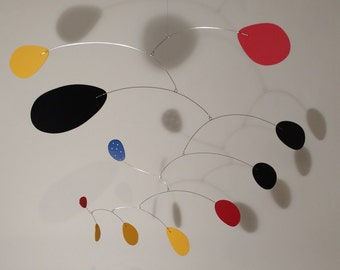 "Art Mobile Lustron ML 42""w x 23""h Modern Hanging Art Sculpture Handmade by Julie Frith ML Calder Styled Home Decor"