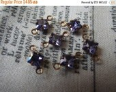 ON SALE 18% Off Tanzanite Vintage Swarovski Square 4x4mm Glass Brass Ox Connector Drops 6 Pcs