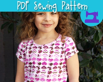 PDF SEWING PATTERN - Practically Perfect Girls T-Shirt Pattern - t shirt pattern, toddler pattern, girls sewing pattern, shirt pattern