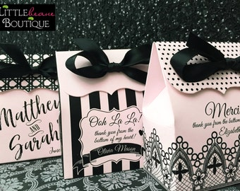 French Favor boxes, French Wedding favor box, Pink and black, Paris Birthday Party favors, Treat box, French birthday party