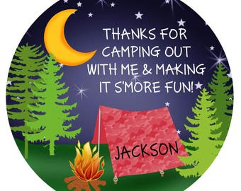 Camping Birthday Party, Camping stickers, camping favor labels, Camp out, Glamping, Smores stickers, woodland, Lumberjack
