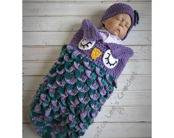 Crochet Owl Cocoon Set for Newborn MADE TO ORDER