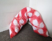 Long Shibori Dyed Body Pillow, Red and White