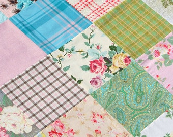 "bundle of 63 pre-cut fabric squares, 8.5""x8.5""  -  Into the Garden..."