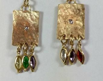 Gold, Diamond and gemstone Dangle earrings, solid 14 kt  recycled gold and diamond drop earrings, boho gold gemstone earrings