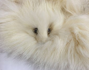 luxurious white rabbit fur collar ermine heads vintage soft Bridal wedding winter fashion sewing project supplies ivory bunny fur ermine fur