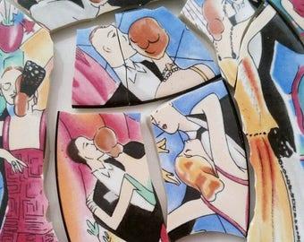 Mosaic Tiles-Tango Dance- 8-10 Tiles