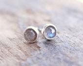 Sterling silver labradorite stud earrings