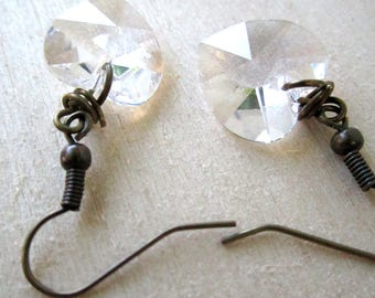 Coeur Cristal Earrings - faceted clear crystal hearts on bronze fishhook earrings - rustic wedding - Free Shipping to USA